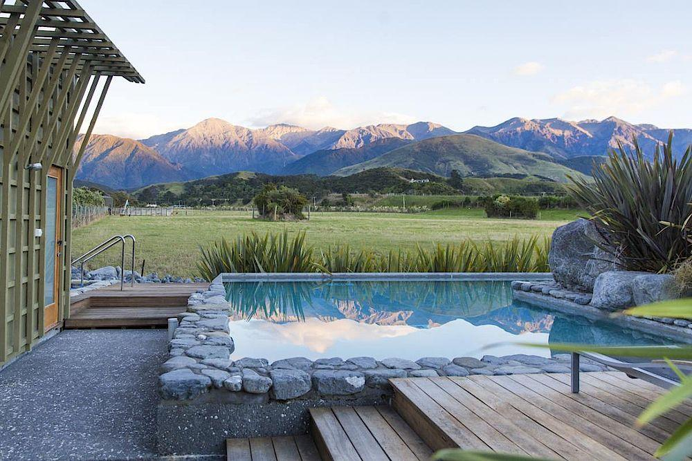 Kleiner Pool, Hapuku Lodge & Tree Houses, Kaikoura, Neuseeland Rundreise