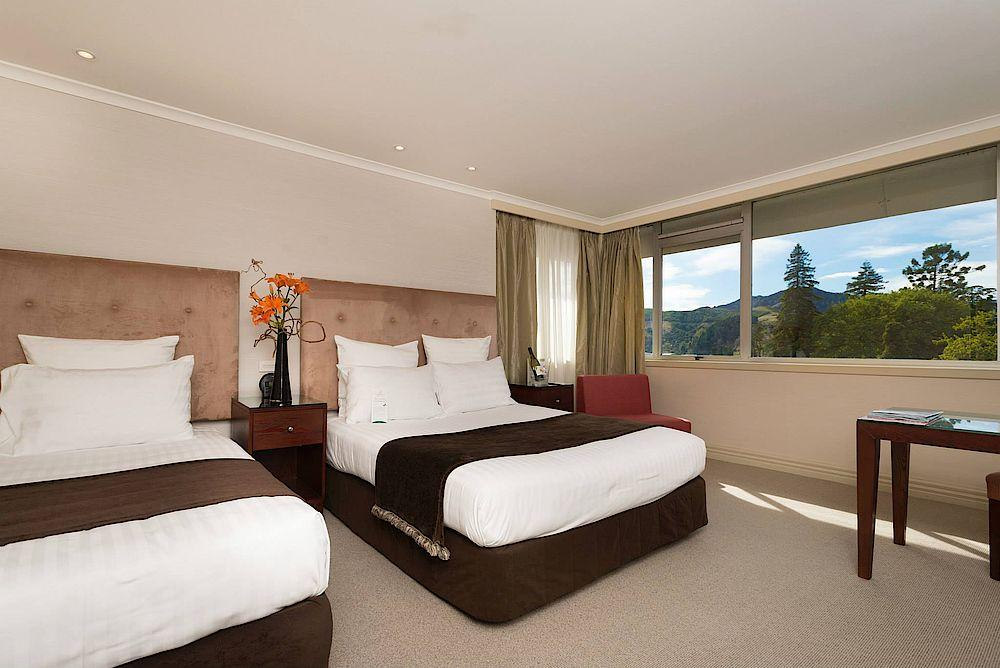 Twinbed Zimmer, Rutherford Hotel, Nelson, Neuseeland Reise