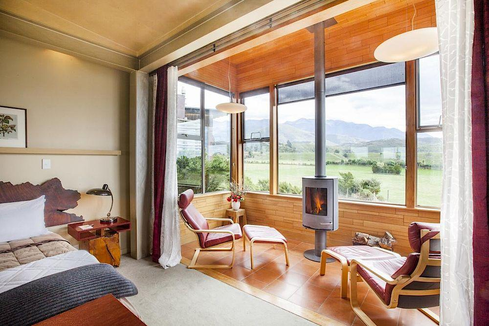 Suite mit Kamin, Hapuku Lodge & Tree Houses, Kaikoura, Neuseeland Rundreise