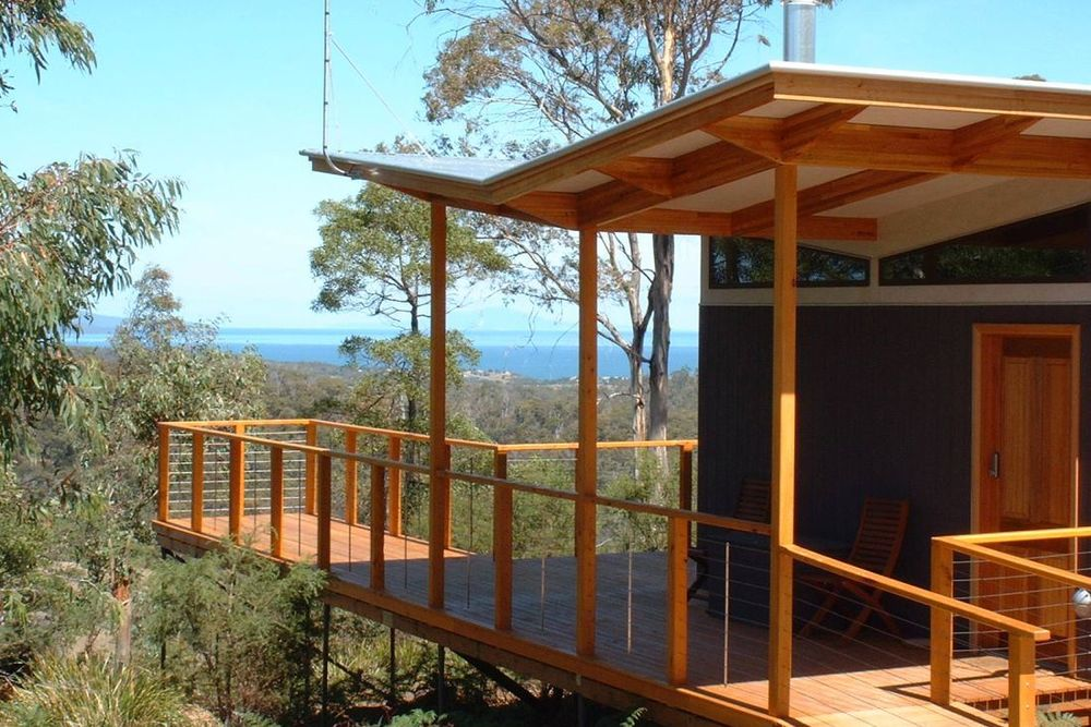 Balkon, Freycinet Retreat, Coles Bay, Tasmanien Rundreise