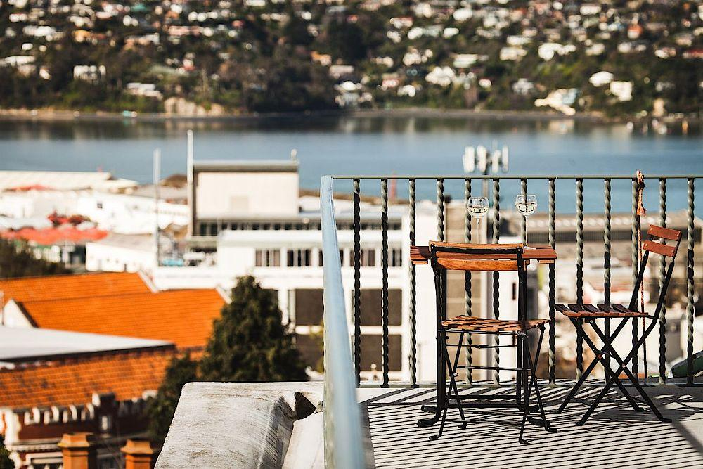 Balkon, The Brothers Boutique Hotel, Dunedin, Neuseeland Reise